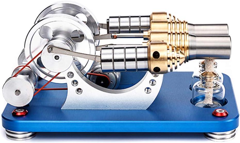 deguojilvxingshe Modell eines Metall-Stirlingmotors 2-Zylinder-Modell eines parallel bootf/ähigen Stirlingmotors Modell eines Mikro-Verbrennungsmotorgenerators