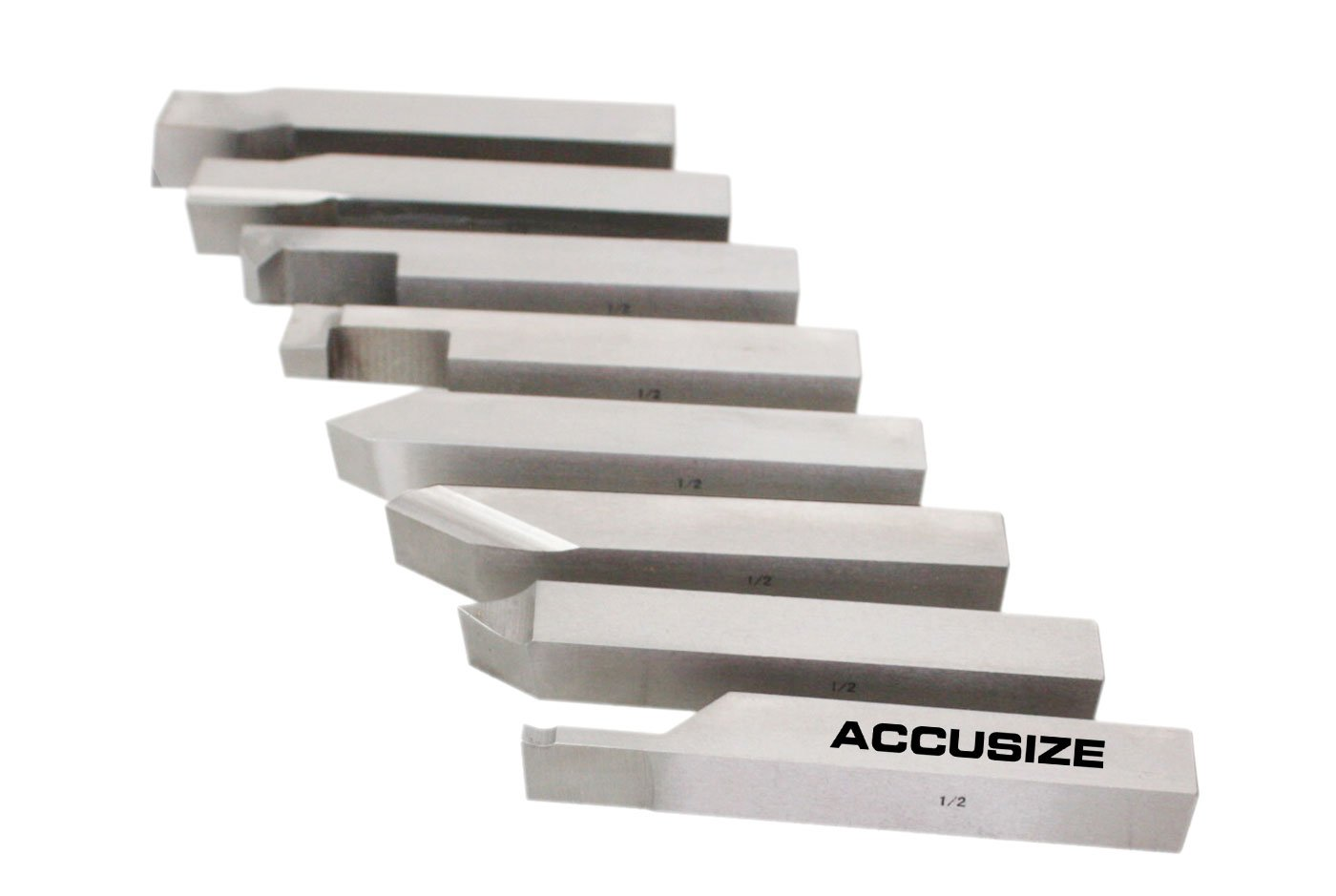 AccusizeTools - 1/2 inch 8 pcs H.S.S. Tool Bit Set, Pre-Ground for Turning & Facing Work, for Aluminum.Steel, Brass, Plastic & Wood, 2662-2004 by Accusize Industrial Tools (Image #4)