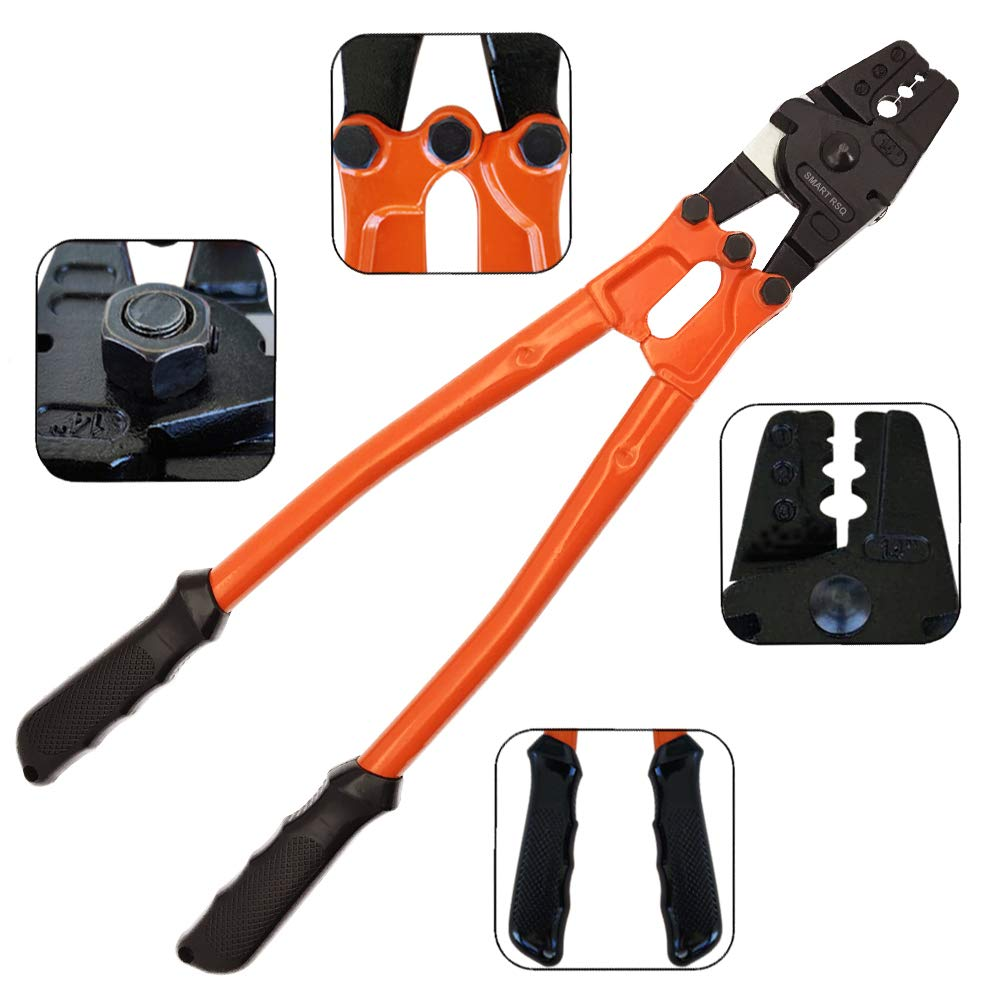 14'' Wire Rope Crimping Tool for Steel Cable Railing Fittings 1/8'', 7/64'', 3/32'', 5/64'', 1/16''. The Cable Swaging Tool Works Great for Copper and Aluminium Sleeves, Crimp Ferrules & Terminals