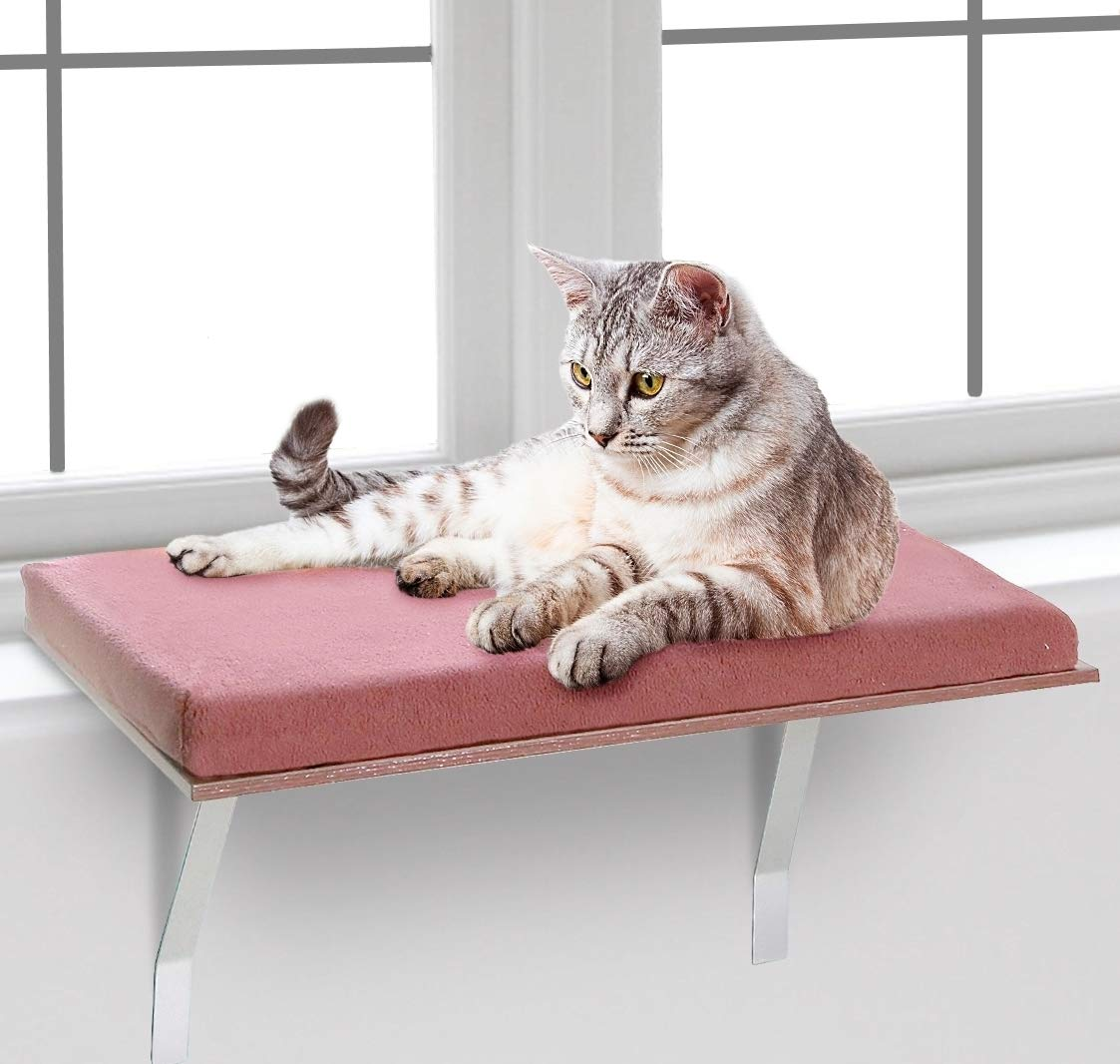 Bundaloo Cat Window Perch | Easy Set-up DIY Kitty Sill | Mounted Shelf Bed for Pets | House Pets Furniture | Sturdy Couch for All Kitten Sizes | Washable Foam Seat (Modern Brown, Medium 23-3/4 x 12'') by Bundaloo