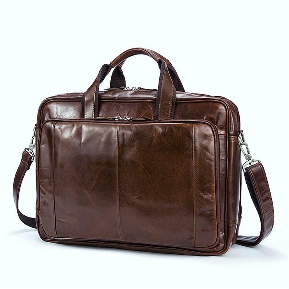 42 31 14cm Briefcase Brown FLYSXP Mens Bag Retro Solid Color Mens Shoulder Bag File Bag Men