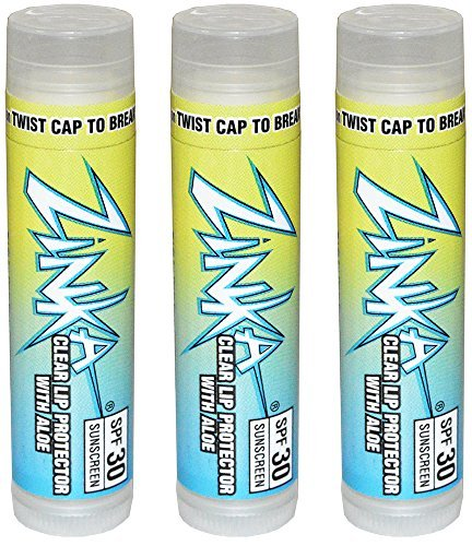 Lip Protector - Zinka Clear Lip Protector With Aloe SPF 30 Sunscreen Lip Balm .15 Ounce (Pack of 3)