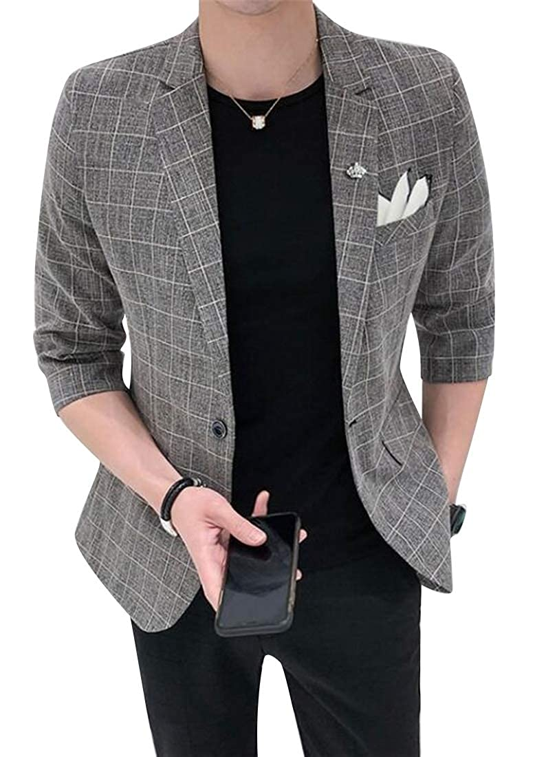 1 YYG Men's Slim One Button Plaid Print Half Sleeve Dress Blazer Jacket Coat
