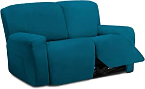 Easy-Going 6 Pieces Stretch Sectional Recliner Sofa Slipcover Soft Fitted Fleece 2 Seats Couch Cover Washable Furniture Protector with Elasticity for Kid Pet (Recliner Loveseat,Peacock Blue)