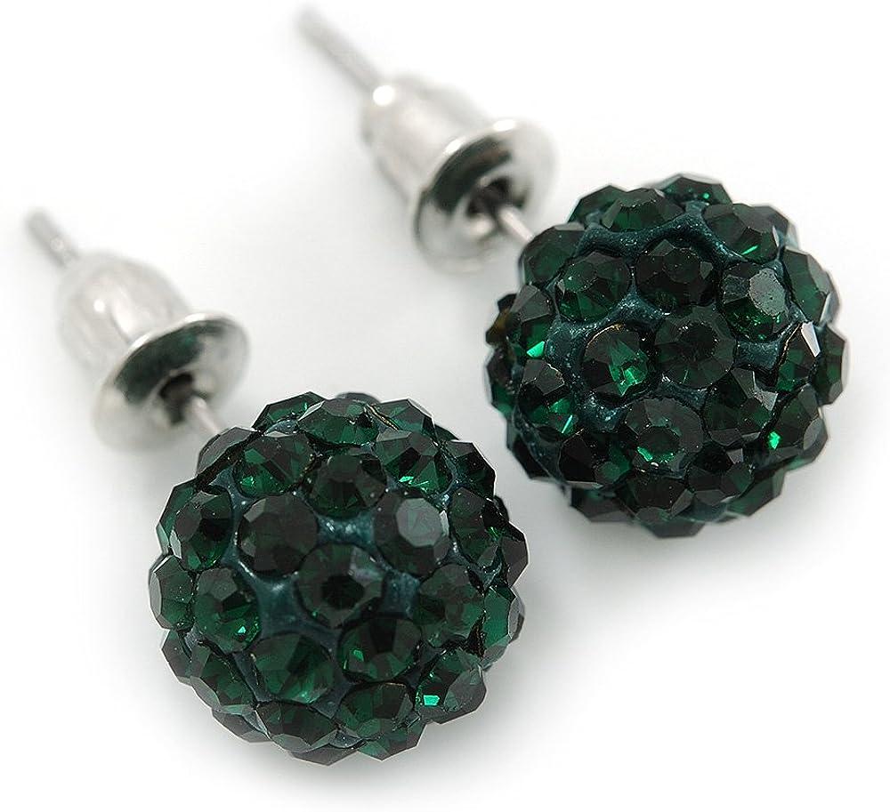 Pendientes de bola de cristal verde esmeralda de 10 mm en tono plateado