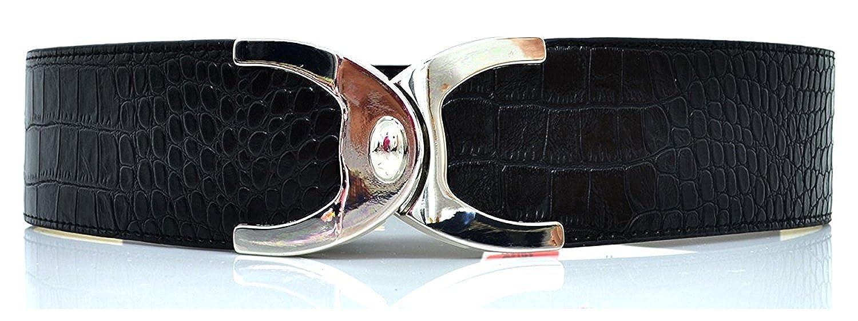 Style & Co. Croc Turnlock Belt Stretch Belt, Black Small-Med
