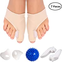 Mom's care Bunion Corrector & Bunion Care Kit for Tailors Bunion, Hallux Valgus, Big Toe Joint, Hammer Toe, Toe Separators Spacers Straighteners Splint with Foot Massage Ball, White