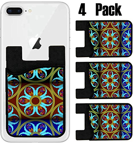 MSD Phone Card holder, sleeve/wallet for iPhone Samsung Android and all smartphones with removable microfiber screen cleaner Silicone card Caddy(4 Pack) IMAGE ID 27234241 Thai new style colorful patte by MSD
