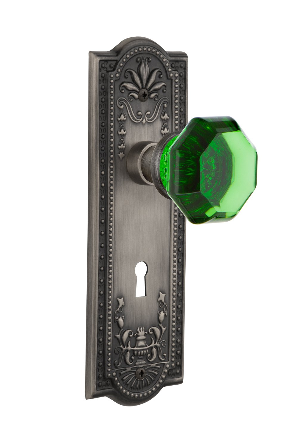 2.75 Nostalgic Warehouse 721696 Meadows Plate with Keyhole Passage Waldorf Emerald Door Knob in Timeless Bronze