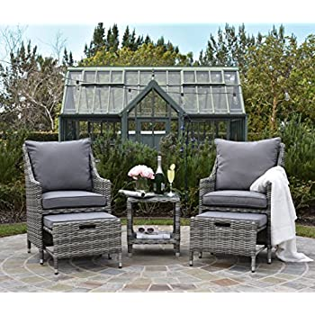Awesome ELLE Décor Vallauris Outdoor 5 Piece Set   Gray Wicker