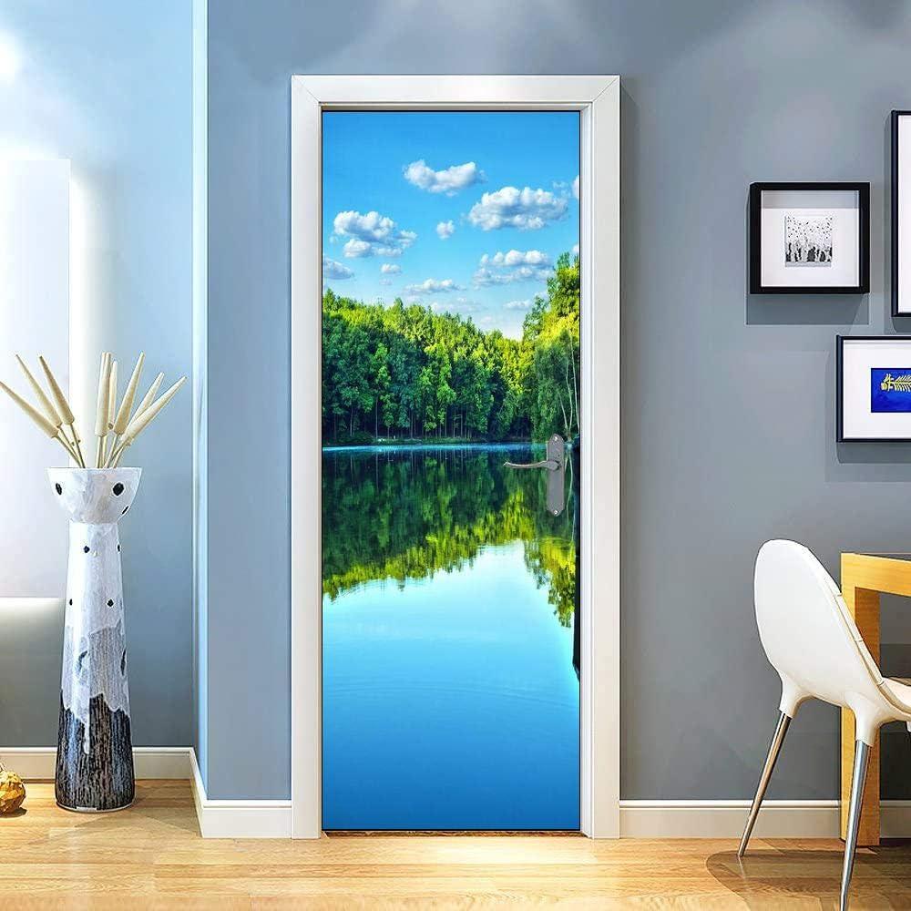 QiyI Door Mural PVC Door Sticker Removable Wall Murals Peel and Stick Door Murals for Home Decoration Living Room Front Door Decals 30.3