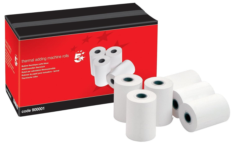 5 Star thermische Additionsrollen für Taschenrechner mit Druckfunktion 57 x 40 x 12, 7 mm 20 Stück 7 mm 20 Stück 900001