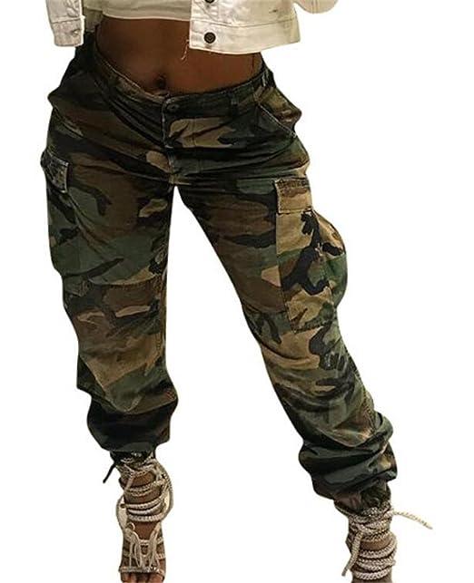 246ae6607b GRMO Women Slim Fit High Waist Camo Print Pocket Cargo Pants Army Green US  XS