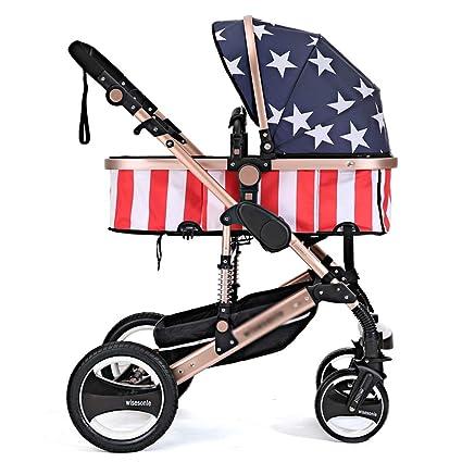 ALIFE Silla de Paseo compacta Cochecito para Bebé Plegable Carrito Baby Jogger Carriage Gris,C