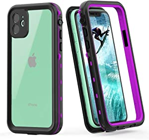 Waterproof Case for iPhone 11-Underwater Clear Full Body Protective Case with Built-in Screen Protector Heavy Duty Rugged Case Shockproof Dustproof Waterproof Case for iPhone 11 6.1Inch (CLEAR-PRUPLE)