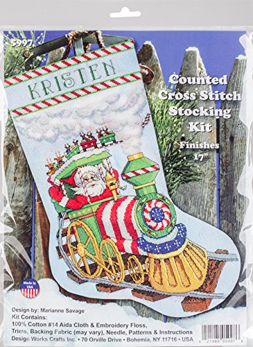 "Design Works Counted Cross Stitch Kit 17"" Stocking ~ SANTA'S"