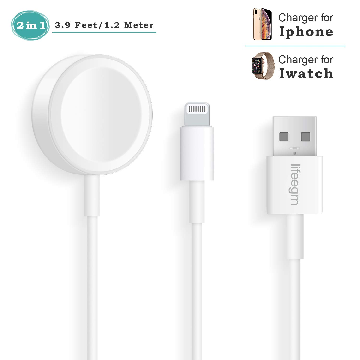 Apple Watch iWatch Charger, 2 in 1 Phone Charger with 3.9ft/1.2m Charging Cable Compatible with for Apple Watch Series 4/3/2/1, iPhoneXR/XS/XS Max/X/8/8Plus/7/7Plus/6/6Plus/iPad4/Air/mini/Airpods by lifeegrn