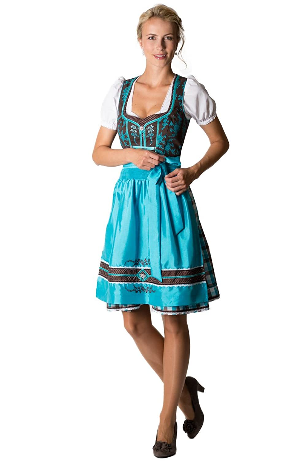 spieth wensky damen mini dirndl adria braun blau d010181. Black Bedroom Furniture Sets. Home Design Ideas