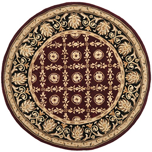 8' Naples Collection Rug (Safavieh Naples Collection NA521B Handmade Burgundy and Black Wool Round Area Rug, 8 feet in Diameter (8' Diameter))