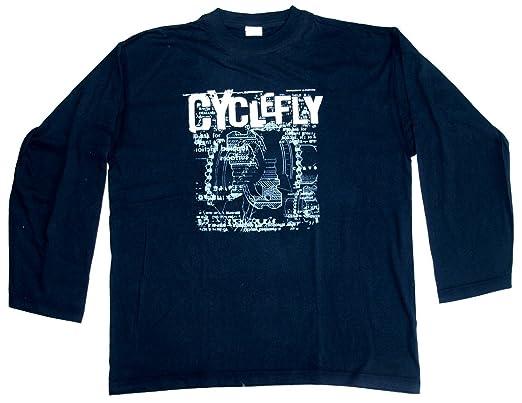 Langarmshirt Cyclefly Größe XL Baumwolle schwarz beidseitig Siebdruck