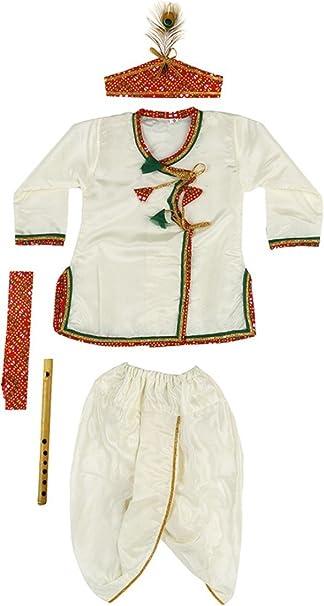 b774dc8bd SBDTM Baby Boy's Satin Kanha Dhoti Kurta Angrakha (0-12 Months, White)  -Pack of 4: Amazon.in: Clothing & Accessories