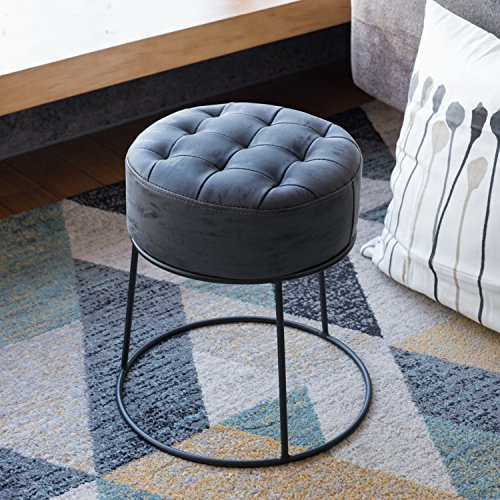 Round Suede Storage Ottoman (Art-Leon Furniture Dwarf Round Stool, Ottoman, Footrest, Small Seat, Faux Leather, Gray)