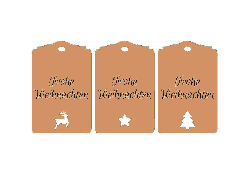 25 Geschenkanh/änger Frohe Weihnachten Tags Etiketten Gift Tags