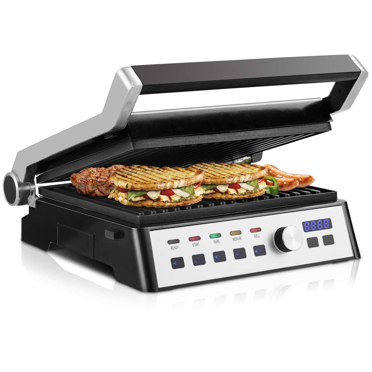COSTWAY 1500W Smokeless Electric Grill Indoor Grill with Adjustable Temperature and Positions, Non-stick Cooking Surface, Panini Press Sandwich Maker Grill Griddle with Removable Plate & LCD Touch Display