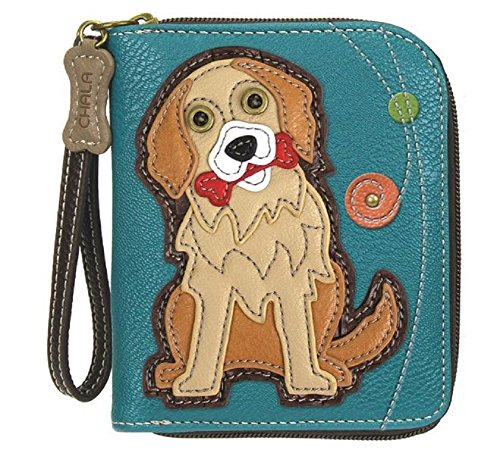 - Chala Zip Around Wallet, Wristlet, 8 Credit Card Slots, Sturdy Pu Leather, Bulldog - Golden Retriever - Turquoise
