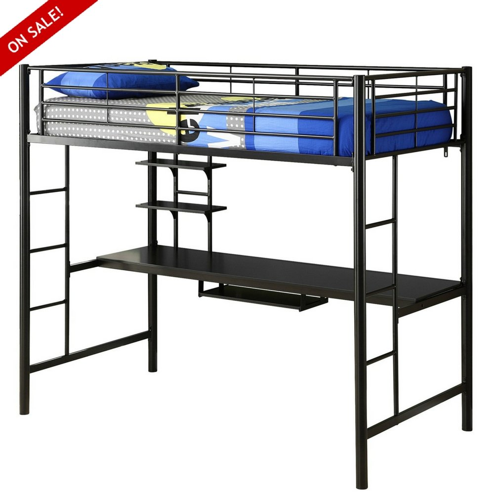 Dorm Loft Bed Frame With Desk And Ladder Modern Industrial Loft Bed High Twin Size Contemporary Loft Bunk Bed Metal Frame Study Single Furniture Minimal Adults Children Bedroom And eBook By NAKSHOP