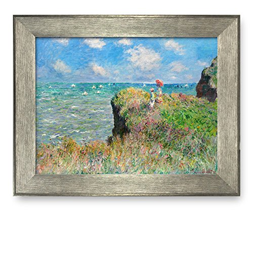 Cliff Walk at Pourville by Claude Monet Framed Art Print Famous Painting Wall Decor Silver Frame