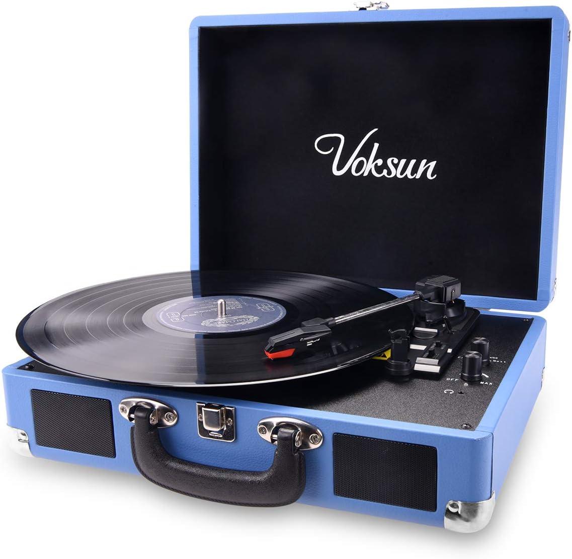 VOKSUN Tocadiscos, Bluetooth Tocadiscos Vinilo con 2 Altavoces incorporados, Reproductor de 3 Velocidades par 33/45/78 RPM, Admite Salida Salida Aux in/Transcripción de Vinilo a Mp3