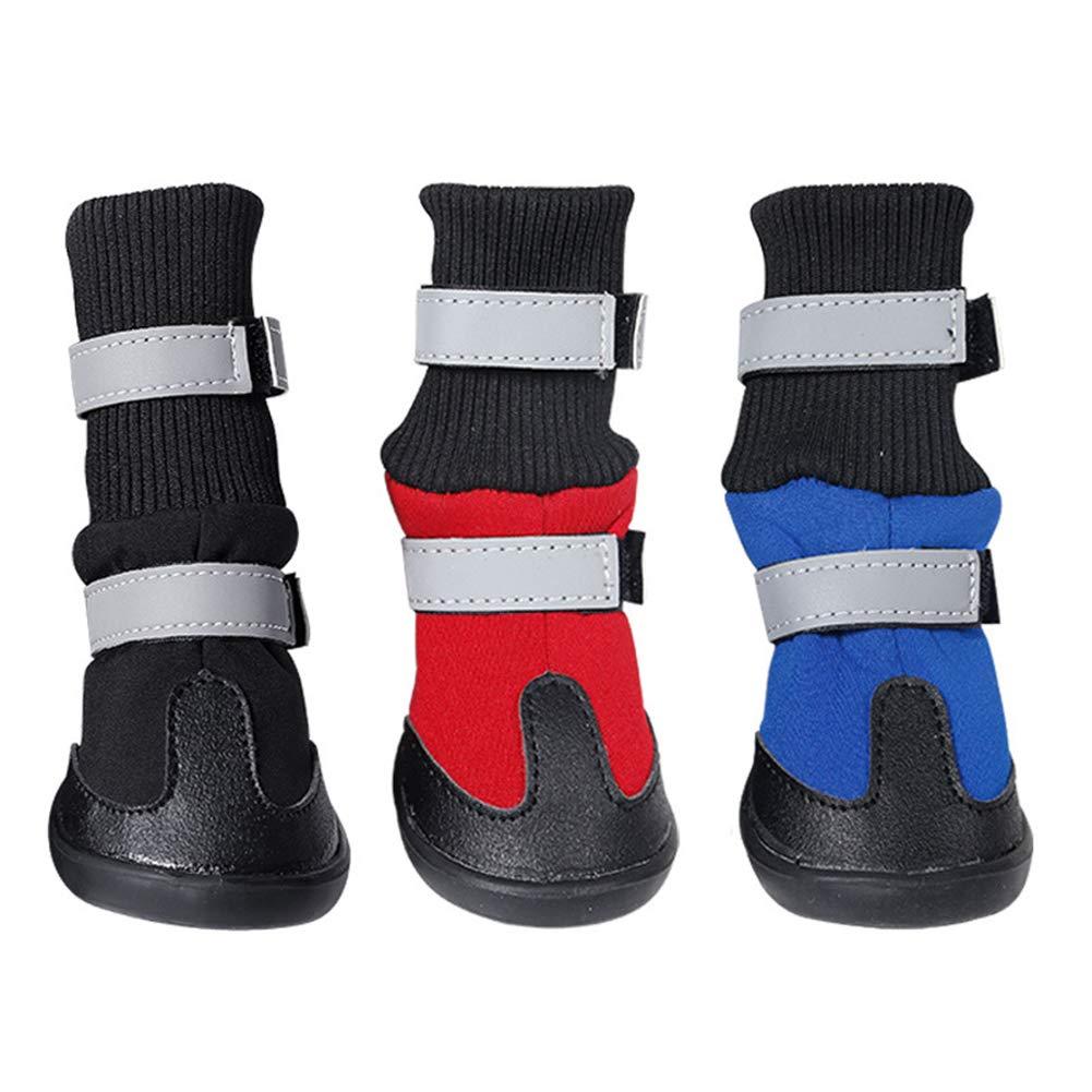 Black XLxinYxzR Winter Warm NonSlip Pet Dog Boots shoes Paws Predector Footwear Supplies 4Pcs Black XL