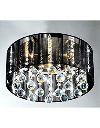Modern 5 Light Black Drum Shade Flush Mount Crystal Chandelier Pendant