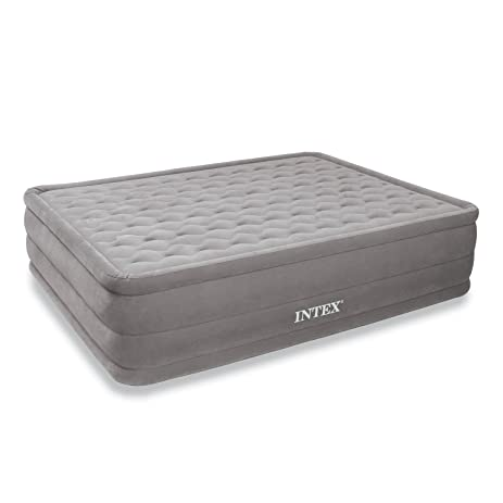 intex ultra plush airbed with builtin electric pump queen bed height 18u0026quot
