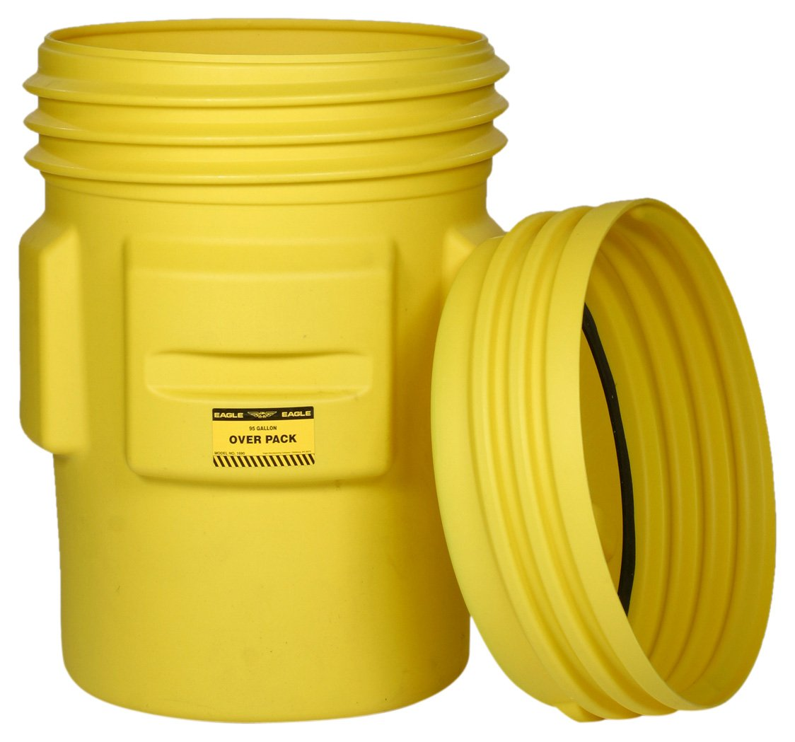 Eagle 1690 Yellow Blow-Molded HDPE Overpack Drum with Screw-On Lid, 95 gallon Capacity, 41.25'' Height, 31'' Diameter