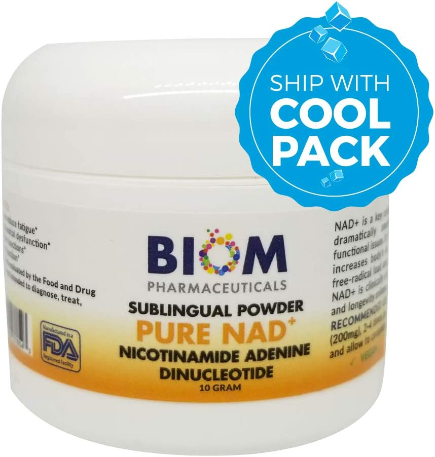 NAD SUBLINGUAL Powder Cold SHPPED for Maximum Potency, Certified- 10g Dose 200 mg Nicotinamide Adenine Dinucleotide NAD