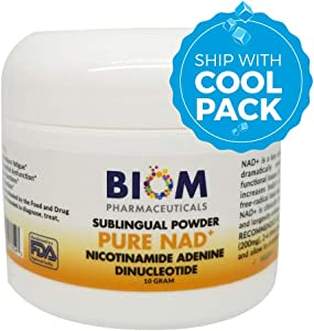 NAD+ SUBLINGUAL Powder: Cold Shipped for Maximum Potency, Certified- 10g (Dose: 200 mg) Nicotinamide Adenine Dinucleotide (NAD+). for Mitochondrial Regeneration, Cellular Repair, telomere Health