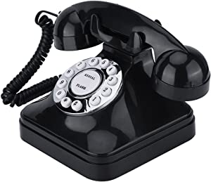 Richer-R Retro Phone,WX-3011 Vintage Retro Telephones One-line Operation with Multi Function Traditional Bell Ring,Plastic Home Telephone Retro Wire Landline Phone(Black)