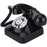 Richer-R 電話機  レトロ電話 WX-3011ヴィンテージ 多機能ワンラインオペレーション 伝統的なベルリング 自宅電話 ワイヤー固定電話(ブラック)