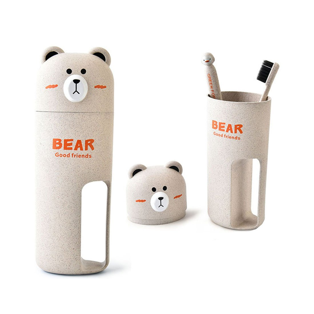 HBOS Wheat Fiber Environmentally-friendly Bear Toiletry Kit for Travel And Toiletry Cup with 2 Toothbrush & Wash Gargle Cup