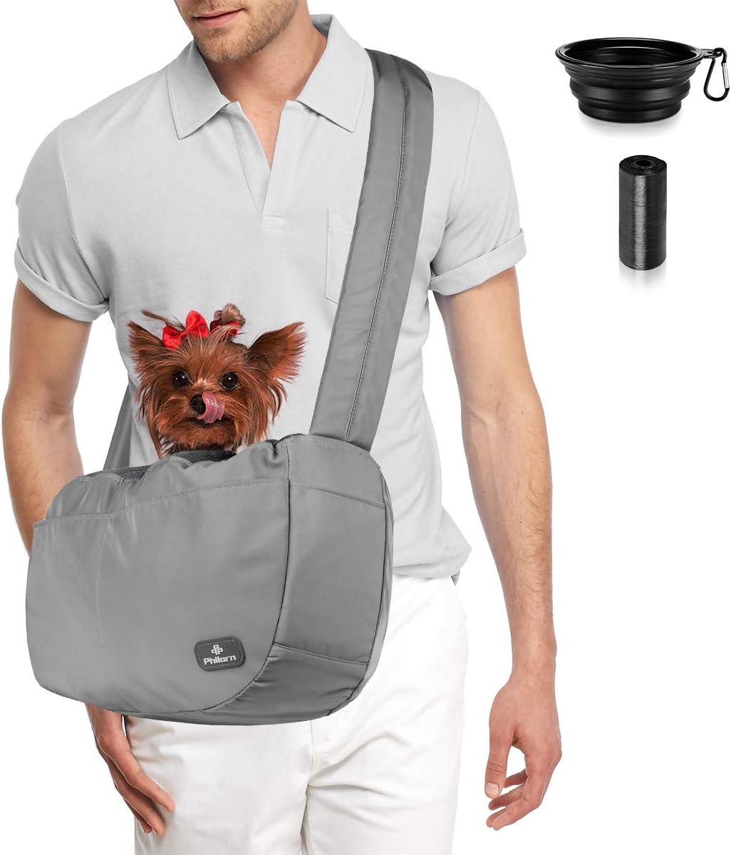 PHILORN Bolsa Bandolera de Transporte para Mascota Manos Libres, Transportín Bolsa Portador de Viaje para Mascota, Bolso de Hombro Acolchada Ajustable para Perro Gato de Hasta 30lbs - Muchos Bolsillos