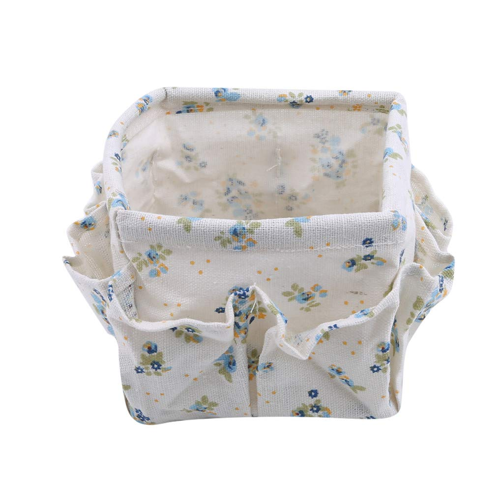 Eleusine Cotton Linen Desk Storage Basket on Both Sides Are Two Outer Pockets Of Mobile Phone Keys Snacks Small Waste Box Light Blue