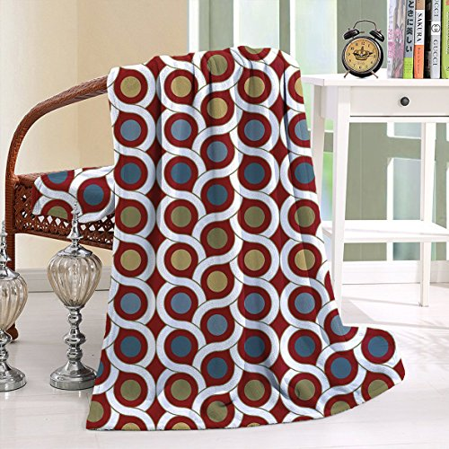HAIXIA Blanket Geometric Interlace Circular Forms Dots Rounds in Symmetric Lines Ruby Khaki Blue (Sunbrella Costco)