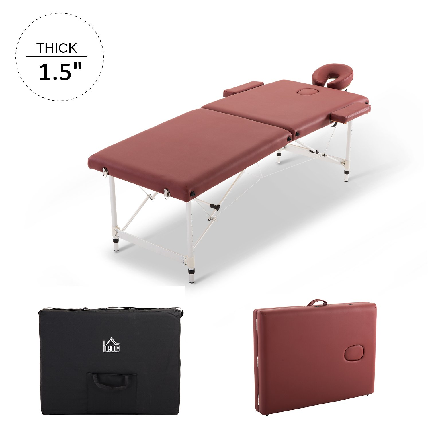 HOMCOM 73 2 Section Foldable Massage Table Professional Salon SPA Facial Couch Tatoo Bed with Carry Bag Red Aosom Canada CA700-077RD0231