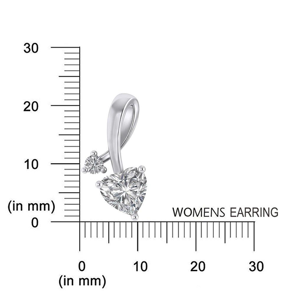 925 Sterling Silver Cubic Zirconia Love Heart Bridal Pendant Necklace Screw Back Stud Earrings Set by Pretty Jewels (Image #6)