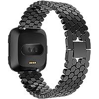 HKCYSEA para Fitbit Versa Band, Pulsera de Repuesto de aleación de Lujo Fashion Fitness Correa para Fitbit Versa Smart Watch Mujeres y Hombres