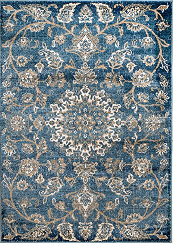 MADISON COLLECTION 2B-D3MI-RJ5J 405 Vintage Distressed Oriental Persian Blue Area Rug Clearance Soft and Durable Pile. Size Option , 7'.4''x 10'.6''