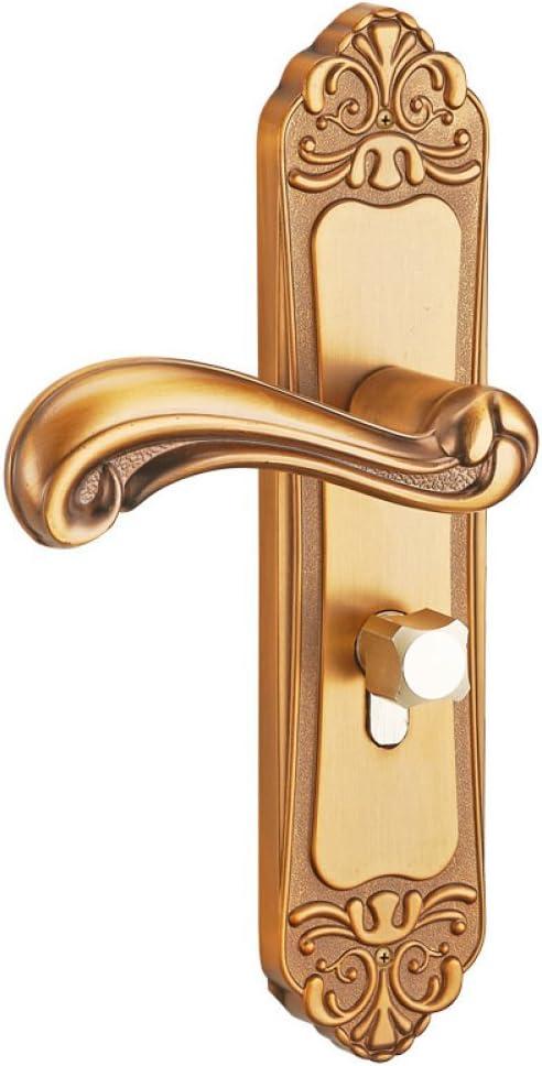 LSS Manija de Puerta Cerradura de Puerta de aleación de Aluminio Cerradura de Puerta de Dormitorio Interior manija de Puerta de baño Simple Cerradura de Puerta de Madera Europea Paquete de ingeniería: