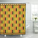 TOMPOP Shower Curtain Black Africa Kente Zig Zag Path of Life and Puff Adder Variation Patterns Green Ghana African Waterproof Polyester Fabric 72 x 72 inches Set with Hooks